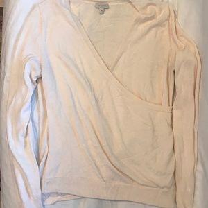 Talbots Cream mock wrap sweater